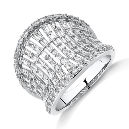 Concave Ring with 1.50 Carat TW of Diamonds in 14kt White Gold