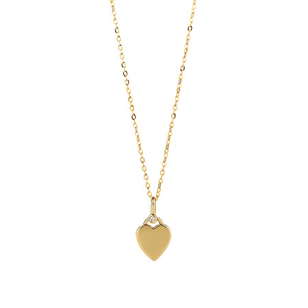 Heart Pendant with Diamond in 10kt Yellow Gold