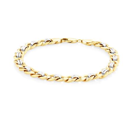 """21cm (8.5"""") Fancy Curb Bracelet in 10kt Yellow & White Gold"""