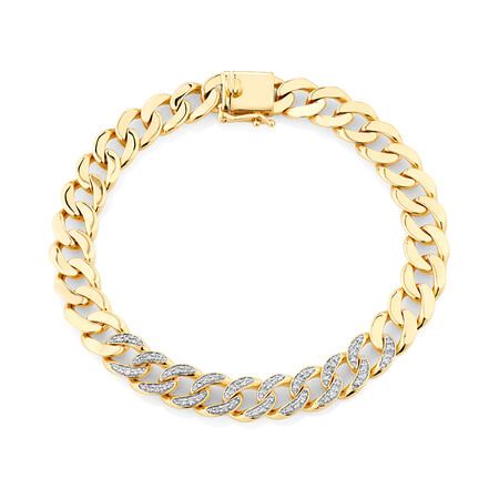 Cuban Link Bracelet with 0.75 Carat TW of Diamonds in 10kt Yellow Gold