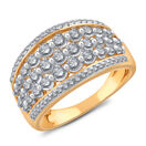 Five Row Ring with 1.00 Carat TW of Diamonds in 14kt Yellow Gold