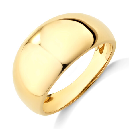 Wide Polished Dome Ring in 10kt Yellow Gold