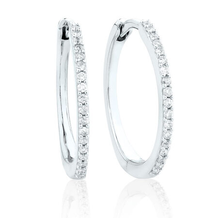 Small Huggie Earrings in 10kt White Gold With 0.18 Carat TW of Diamonds