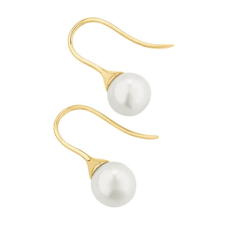 Hook Earrings with Cultured Freshwater Pearls in 10kt Yellow Gold