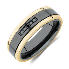 7mm Ring with Black Diamonds in 10ct Yellow Gold & Black Titanium