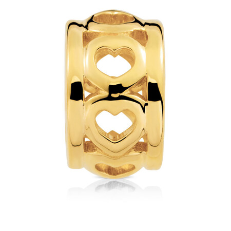 Cut Out Heart Charm in 10kt Yellow Gold