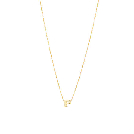 """P"" Initial Necklace in 10kt Yellow Gold"