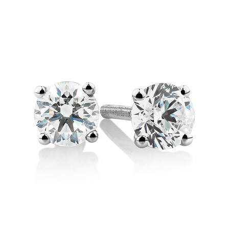 Laboratory-Created 0.50 Carat Stud Earrings In 10kt White Gold