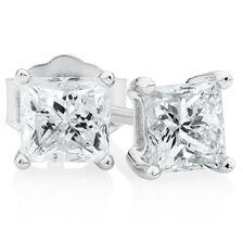 Classic Stud Earrings with 0.96 Carat TW of Diamonds in 14kt White Gold