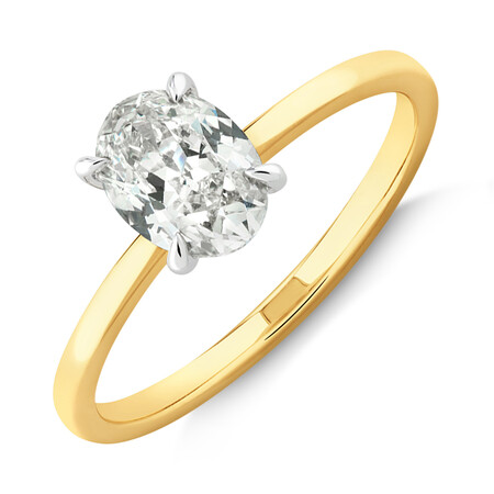 Southern Star Oval Solitaire Engagement Ring with 1 Carat TW of Diamond in 18kt Yellow & White Gold