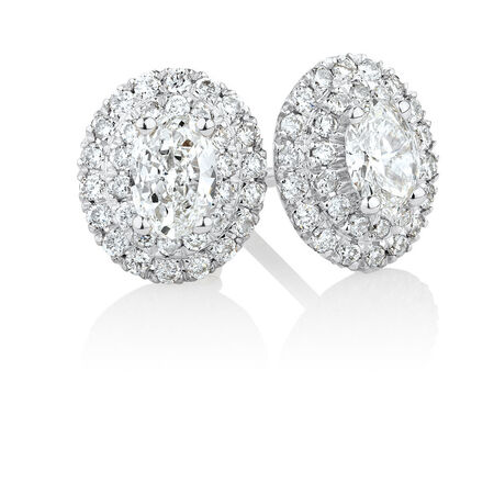 Stud Earrings with 0.54 Carat TW of Diamonds in 10kt White Gold