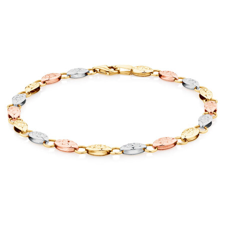 Fancy Bracelet in 10kt Yellow, White & Rose Gold