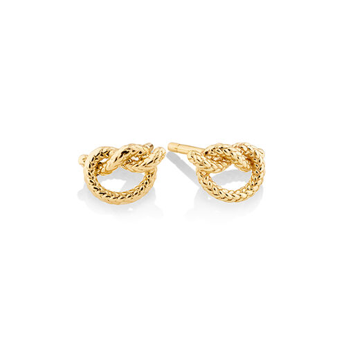 Overhand Rope Knot Earrings in 10kt Yellow Gold