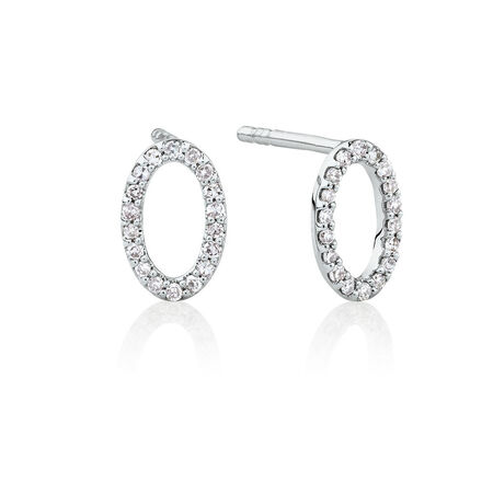 Oval Stud Earrings with Diamonds in Sterling Silver