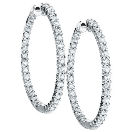 Hoop Earrings with 2 Carat TW of Diamonds in 18kt White Gold