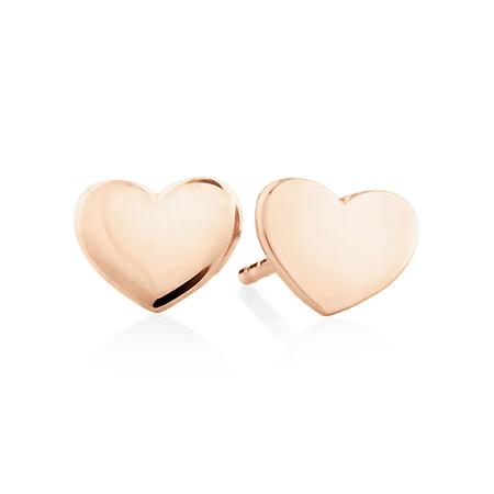 Polished Heart Stud Earrings In 10kt Rose Gold