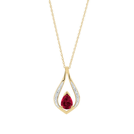 Pear Drop Pendant with Created Ruby & Diamonds in 10kt Yellow Gold