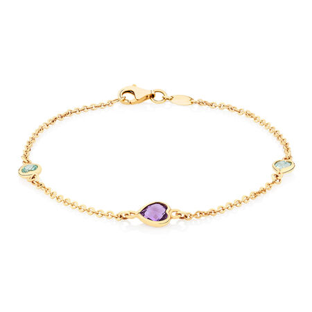 Bracelet with Amethyst & Blue Topaz in 10kt Yellow Gold