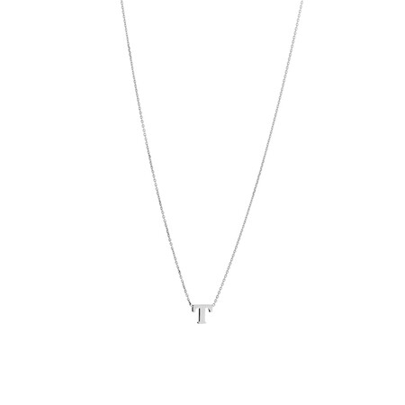 'T' Initial Necklace in Sterling Silver