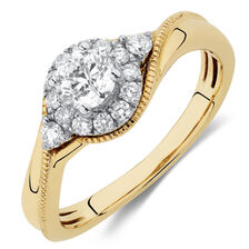 Engagement Ring with 0.60 Carat TW of Diamonds in 10kt Yellow & White Gold