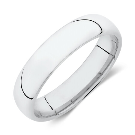 High Domed Wedding Band in 10kt White Gold