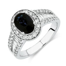 Ring with Sapphire & 1.05 Carat TW of Diamonds in 14kt White Gold
