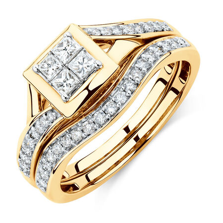 Bridal Set with 1/2 Carat TW of Diamonds in 10kt Yellow Gold