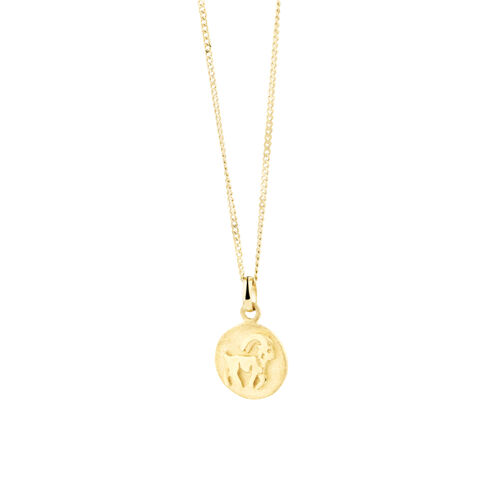 Capricorn Zodiac Pendant In 10kt Yellow Gold