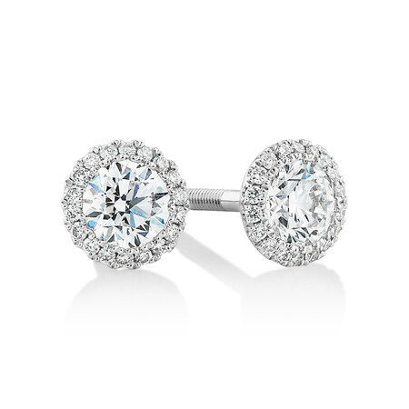 Sir Michael Hill Designer Fashion Earrings with 0.95 Carat TW of Diamonds in 18kt White Gold