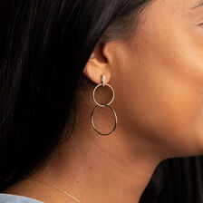Double Circle Drop Earrings With Diamonds In 10kt Yellow Gold