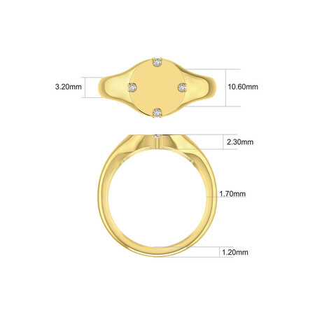 Compass Ring with Diamonds in 10kt Yellow Gold