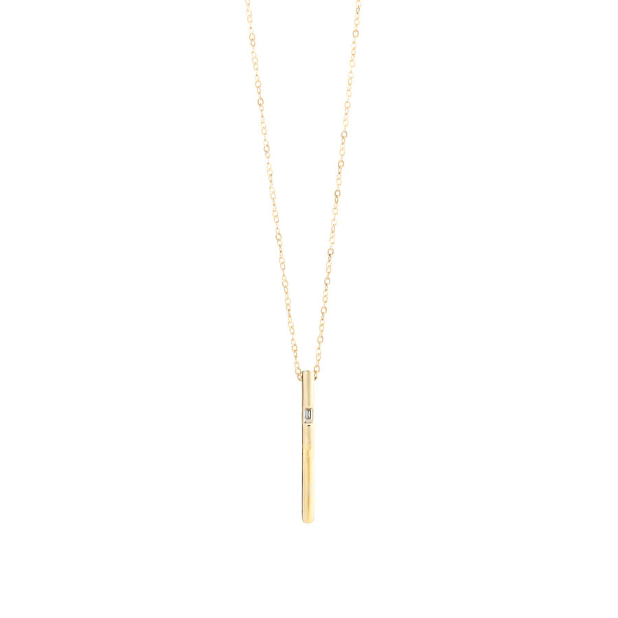 Vertical Bar Pendant with Diamonds in 10kt Yellow Gold