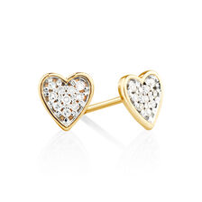 Heart Stud Earrings with Diamonds in 10kt Yellow Gold