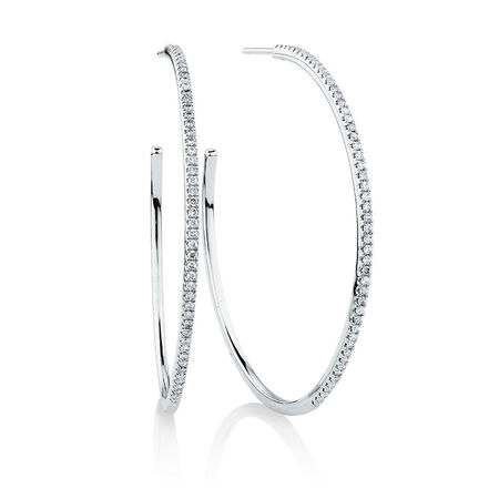 Large Open Hoop Earrings with 0.80 Carat TW of Diamonds in 10kt White Gold