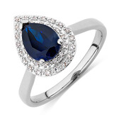 Ring with Created Dark Blue Sapphire & Diamonds in 10kt White Gold
