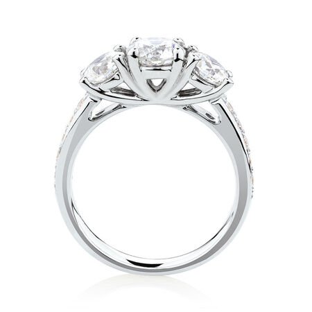 Three Stone Engagement Ring with 2 Carat TW of Diamonds in 14kt White Gold