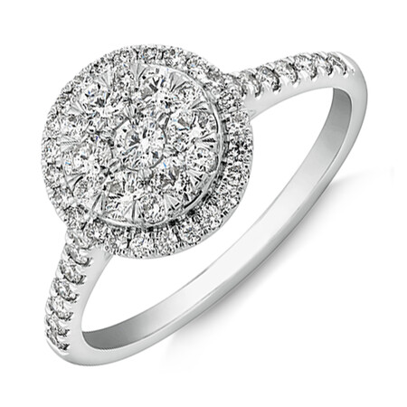 Cluster Halo Engagement Ring with 0.75 Carat TW of Diamonds in 10kt White Gold