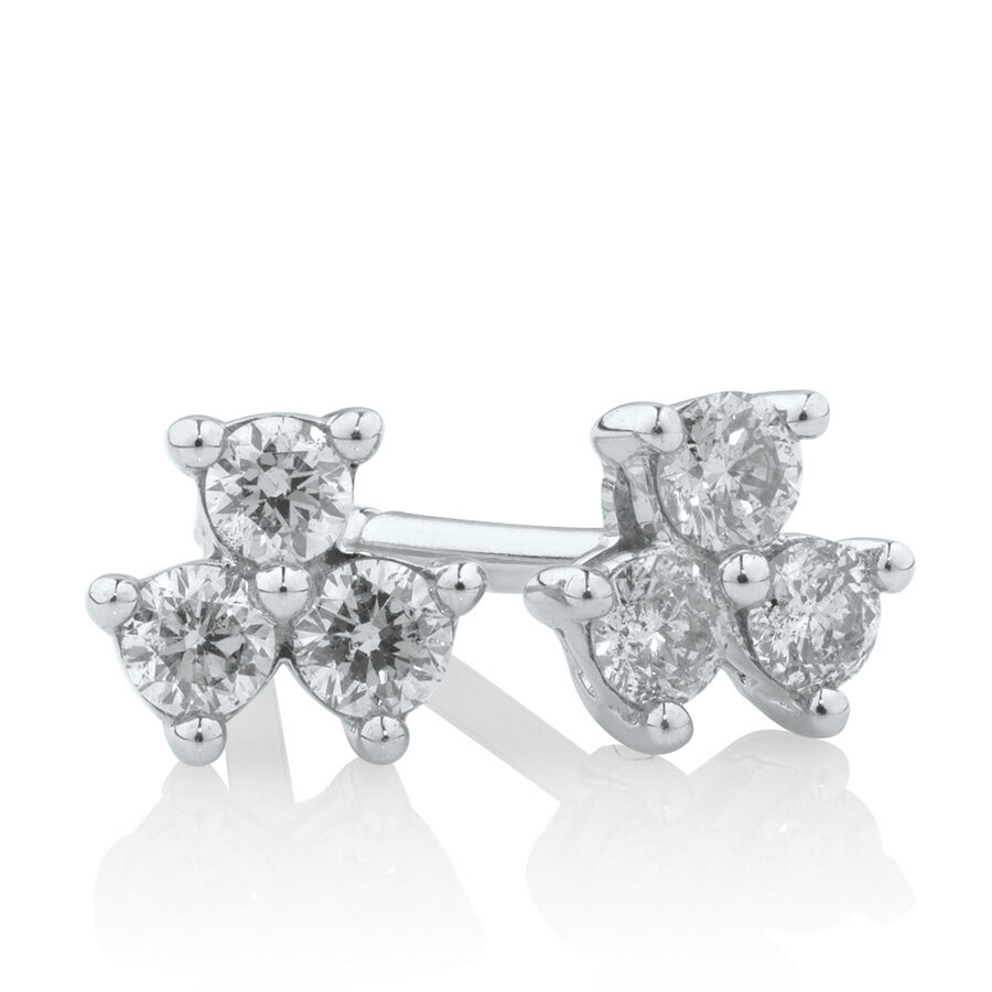 Stud Earrings with 1/7 Carat TW of Diamonds in 10kt White Gold