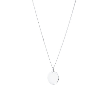 Large Oval Disc Pendant in 10kt White Gold