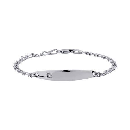 """14.5cm (6"""") Baby Identity Bracelet with a Pink Cubic Zirconia in 10kt White Gold"""