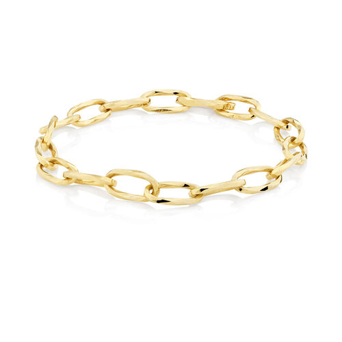 Oval Hollow Bracelet in 10kt Yellow Gold