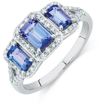 Three Stone Ring with Tanzanite & 1/4 Carat TW of Diamonds in 10kt White Gold
