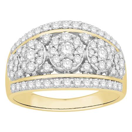 Cluster Ring with 1.00 Carat TW of Diamonds in 10kt Yellow Gold