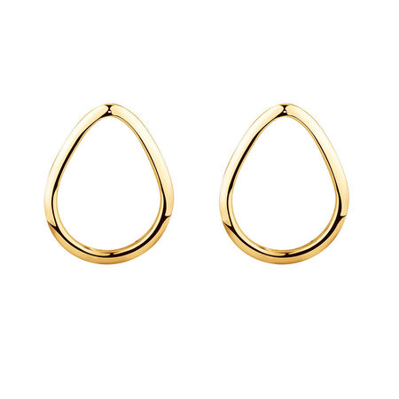 Open Pear Stud Earrings in 10kt Yellow Gold