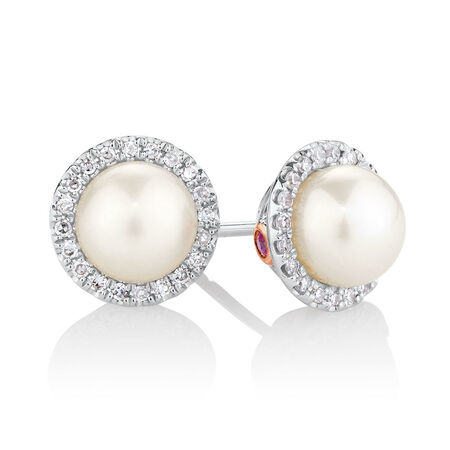 Earrings with 0.13 Carat TW of Diamonds, Pink Sapphires & Cultured Freshwater Pearls in 10kt Rose & White Gold
