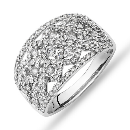 Diamond Cluster Ring with 1.00 Carat TW of Diamonds in 10kt White Gold