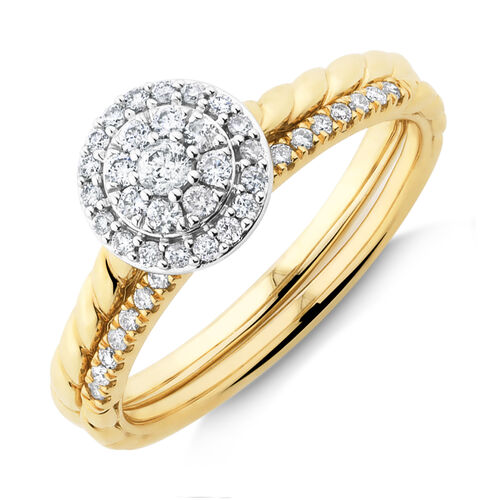 Bridal Set with 0.34 Carat TW of Diamonds in 10kt Yellow Gold
