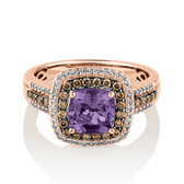 Ring with 1/2 Carat TW White & Brown Diamonds & Amethyst in 14kt Rose Gold