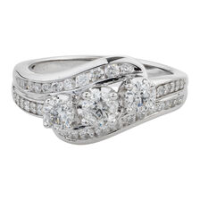 Online Exclusive - Three Stone Ring with 1 Carat TW of Diamonds in 10kt White Gold