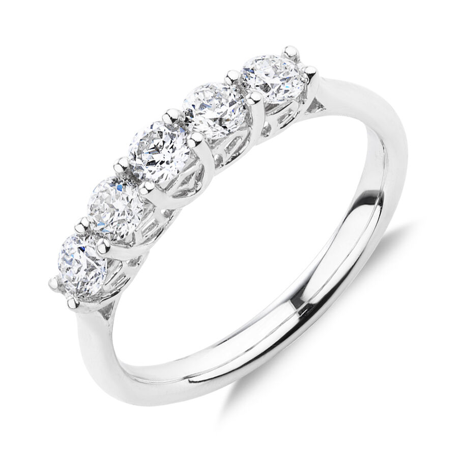 Southern Star 5 Stone Engagement Ring with 0.75 Carat TW of Diamonds in 14kt White Gold